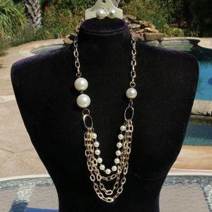 New Boho Pearl Statement Necklace Multi Strand Set